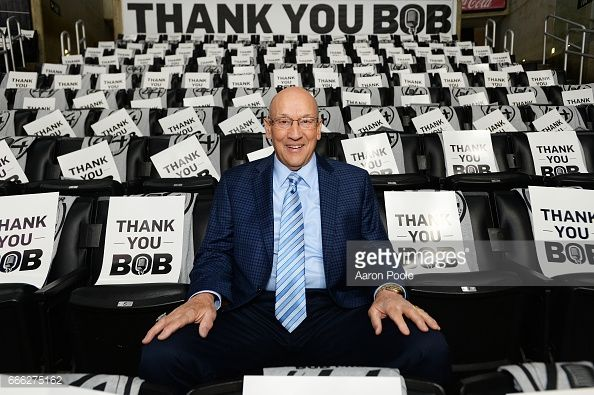 Bob Miller poses for a photo prior to the game between the Los Angeles Kings and the Chicago Blackhawks on April 8, 2017 at Staples Center in Los Angeles, California. #LAKings #WeAreAllKings #ThankYouBob