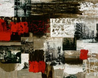 'City Sounds' - Original painting, mixed media collage, abstract art, Streetscapes of San Francisco series | $1600