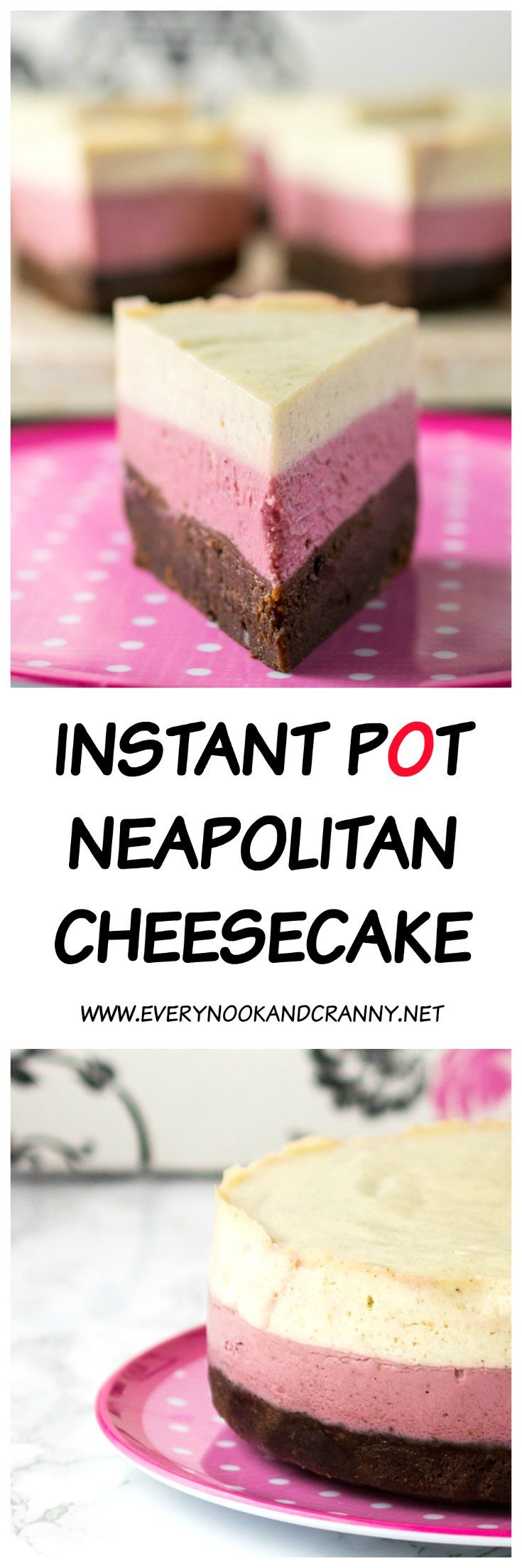 Instant Pot Neapolitan Cheesecake - layers of vanilla and strawberry cheesecake on top of a chocolate brownie base, cooked in the pressure cooker!