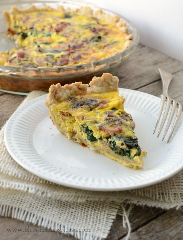 Lightened Up Spinach Bacon Quiche - full of flavor light on calories perfect for Brinner!  #PMedia #FreshandFab #ad
