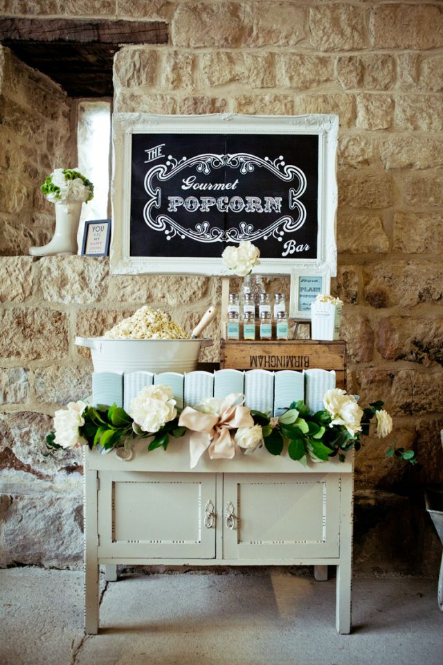 Pop Corn Bar Desserts Table Rustic Elegant Mint Gold Barn Wedding http://gemmagaskins.co.uk/