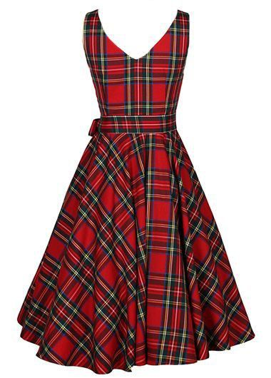 56adbfb106cc8 Belted Plaid Print Sleeveless Red Dress on sale only US$33.00 now, buy  cheap Belted Plaid Print Sleeveless Red Dress at liligal.com