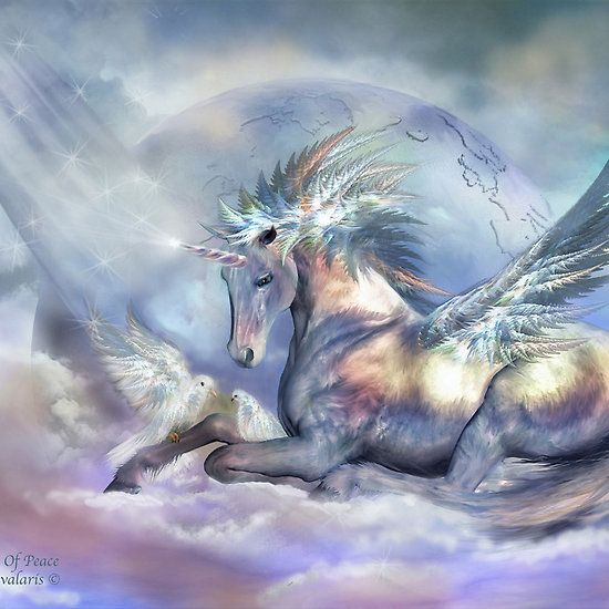 Unicorn Of Peace - this large print sits in our classroom as a symbol of the teachings we offer at Spirit Gate Farm