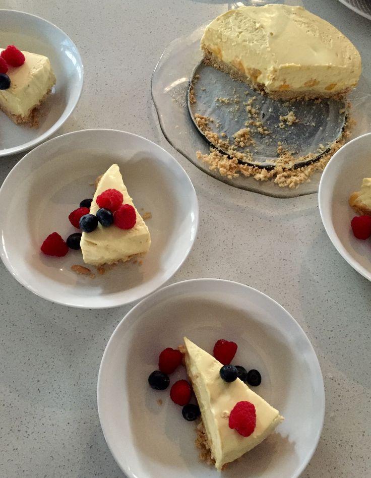 Smooth, Silky, Rich & Creamy Homemade Mango Cheesecake w fresh berries 😋