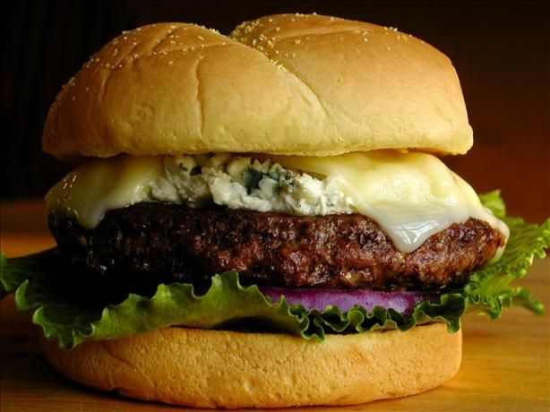 """Blue Moon Burgers from Food.com: mmmmmmmmm Comfort food. We love the Blue Moon Burgers at a local diner. But after finding a deep-fried fly in my french fries, I refuse to go back!! We prefer our burger patties with no """"fillers,"""" just the beef and the toppings."""