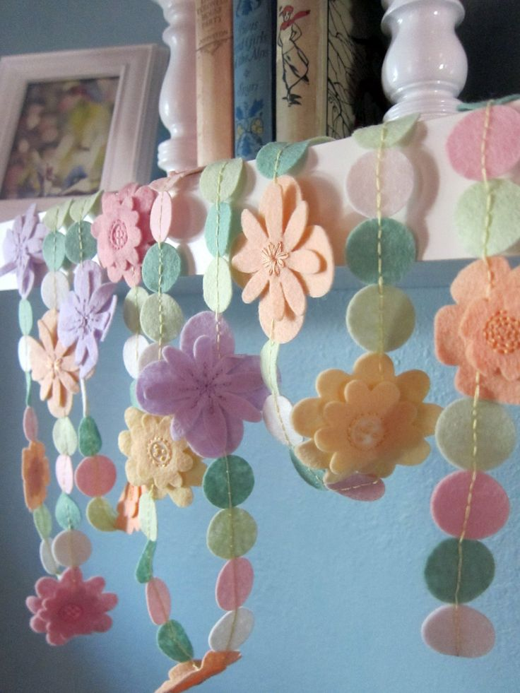 Felt Garland Pastel Flowers by bumbleandboogs on Etsy, this would be fun to make :)