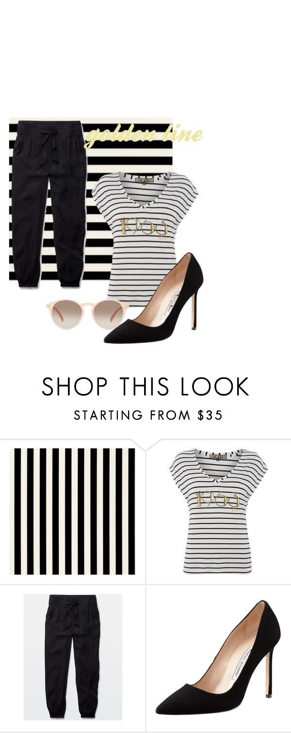 """stripe 1"" by ajriyaf on Polyvore featuring Biba, Talula, Manolo Blahnik and GlassesUSA"
