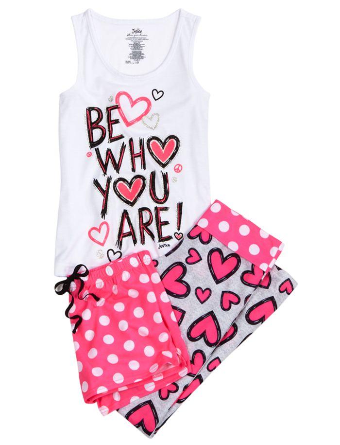 Heart 3 Piece Pajama Set   3 Piece Sets   Pajamas   Shop At Justice! I want so bad!!! :(