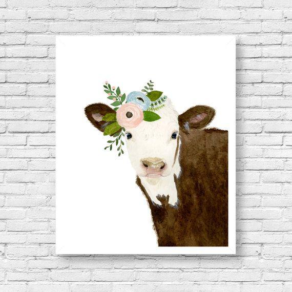 Baby dier: koe   Dit is een afdruk van mijn originele aquarel schilderij. De kleuren zijn rijke en levendige en de print ziet er zo veel beter in het echte leven.  Materialen: Op mooie hoge kwaliteit afgedrukt, gratis archivering en zure fluweel fine art papier met behulp van professionele Epson Ultra Chrome inkten. Afdrukken zal worden ondertekend en gedateerd.  Grootte: Verkrijgbaar in 5 maten! (5 x 7, 8 x 10, 11 x 14, 13 x 19, 16 x 20) Maak uw keuze uit het drop-down menu bij het…