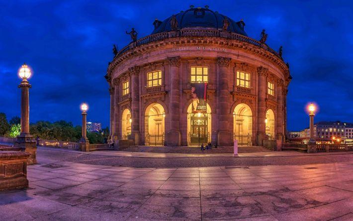 Download wallpapers Berlin, Bode-Museum, evening, city lights, Germany, Berlin landmarks