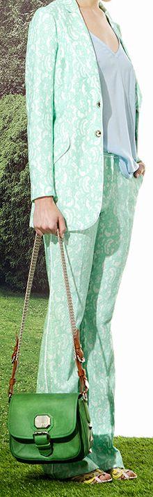 Jazmin chebar - Verano 2015 / Pantalón y saco Green + Top Luli + Cartera mini shushu + zapato india. mint green.