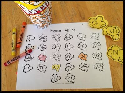 Popcorn ABC's - letter recognition game - great for Kindergarten centers or extra practice at home