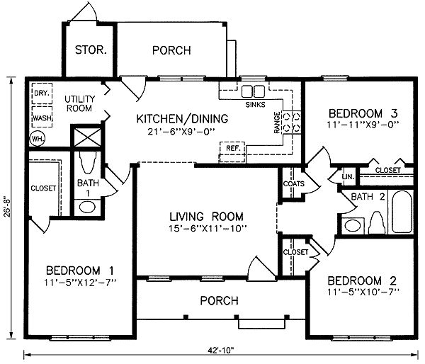 17 best images about 1100 sq ft home plans on pinterest for 3 bedroom ranch plans
