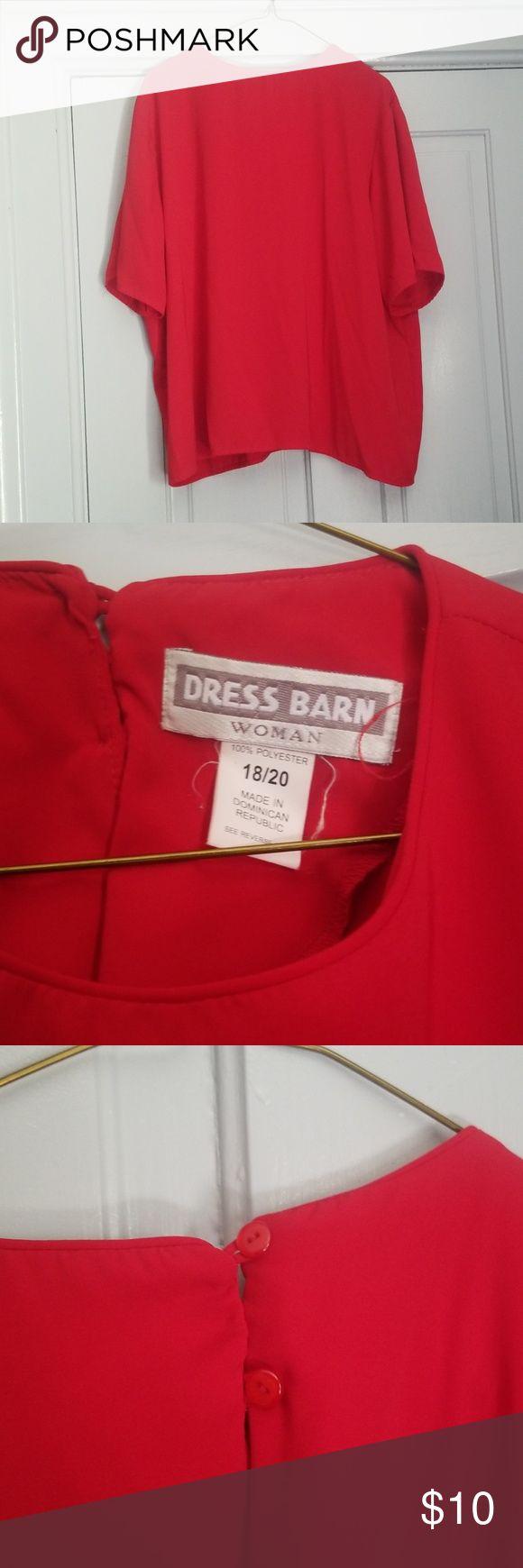 Dress barn red flowy kurze sleave Bluse Diese sanft verwendete Bluse hat zwei Knöpfe …