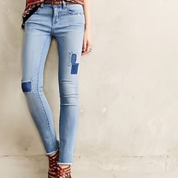 anthropologie jeans size 33 w patch work by pilcro anthropologie jeans size 33 with
