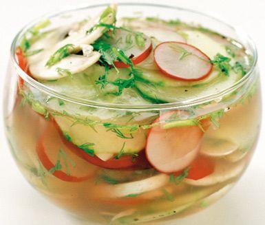 Ett trevligt recept på inlagda grönsaker att servera som tillbehör till middagen. För de ättiksinlagda grönsakerna behöver du bland annat ättika, gurka, rädisor och champinjoner. Enkelt och smakfullt!
