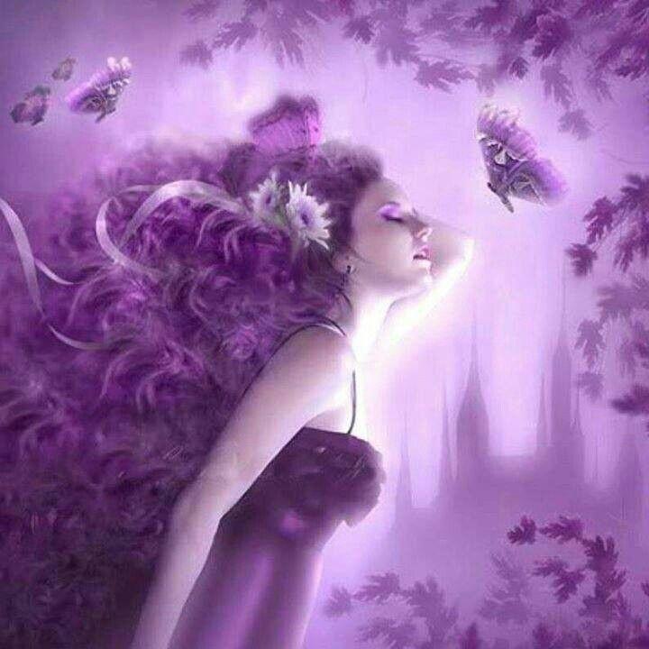 Открытка женщина в сиреневом цвете, люди
