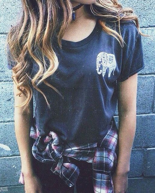 Casual Outfit 12 - Black t-shirt (with Embroidered Elephant), Jeans and Checked Shirt (around waist)