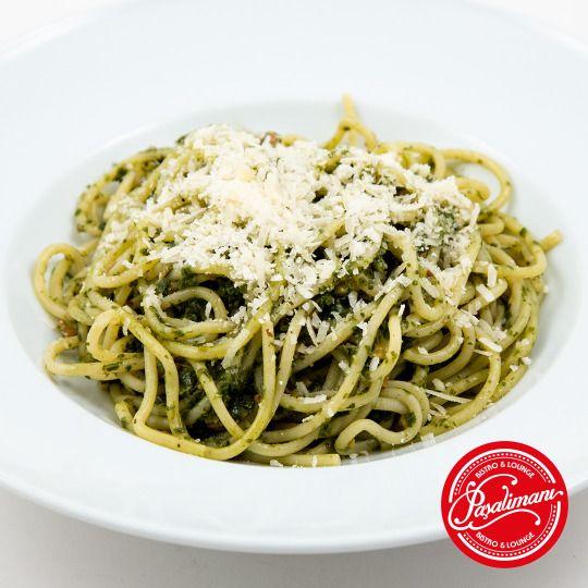 SPAGHETTI PESTO Kremalı ve fesleğen soslu 'ev yapımı' spaghetti. #spaghettipesto