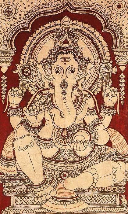 Kalamkari painting of Ganesh. Buy similar at http://bringingitallbackhome.co.uk/product-category/tribal-paintings/