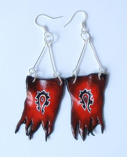 Technically this should also be in wearable art.  Horde Flag Earrings by gemdedude.  Awesome way to show off your pride!