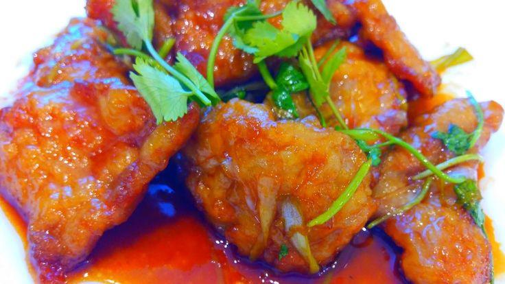 Китайская кухня. Свинина в кляре в кисло-сладком соусе 锅包肉 guō bāo ròu