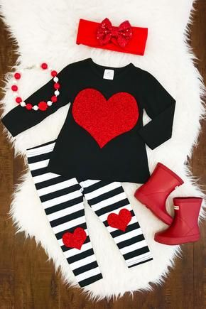 B & W Stripe Red Glitter Heart Boutique Outfit