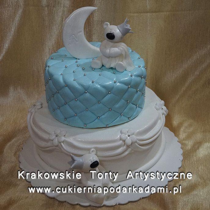 041. Tort z misiami na chrzciny. Baptism cake with teddy bears.