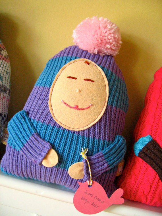 Recycled sweater doll. Purple & Blue Sleepy Baby Doll.: Sleepy Baby, Sweaters Dolls, Baby Dolls