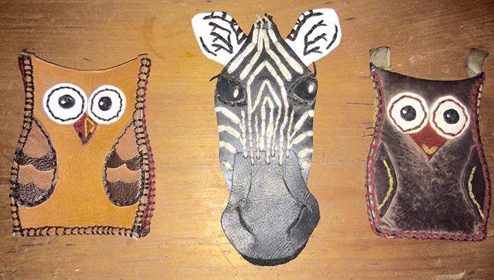 Cellphone cases. Owl, zebra, owl. By Jenny South.
