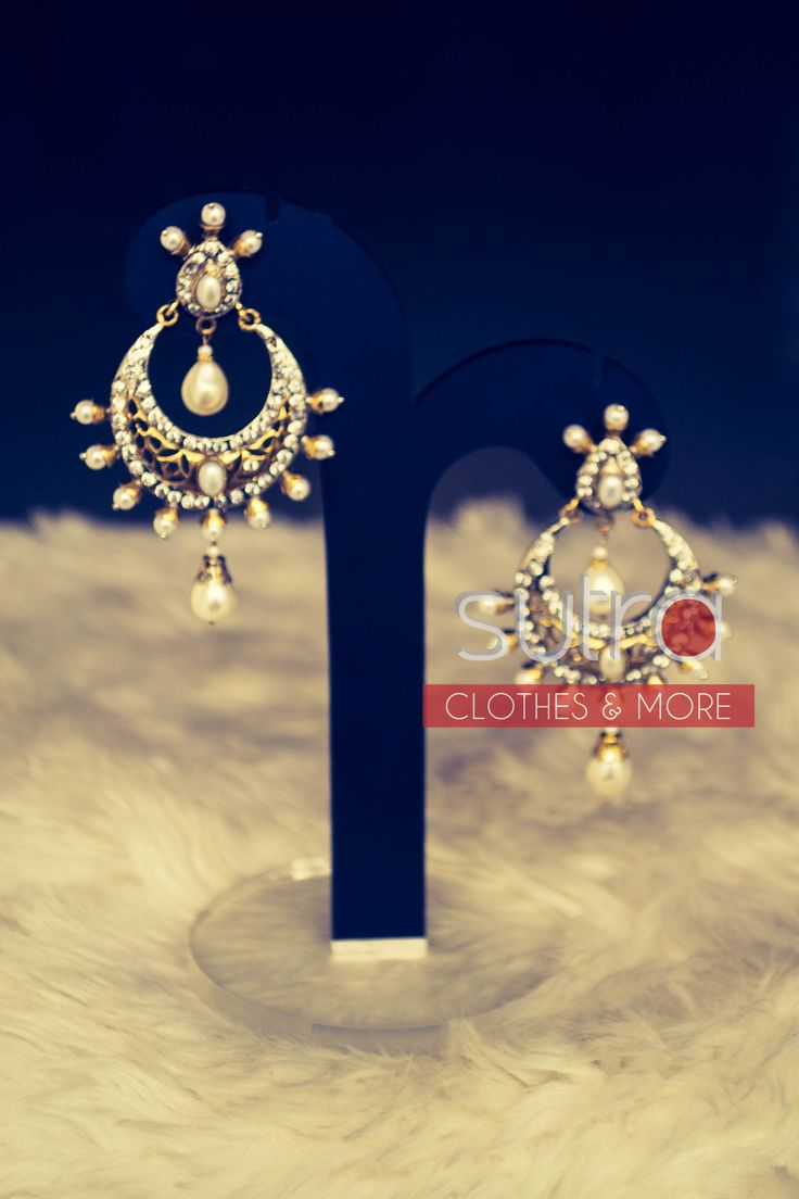 Indian chand bali style earrings with pearl drops  http://on.fb.me/1oCtF01