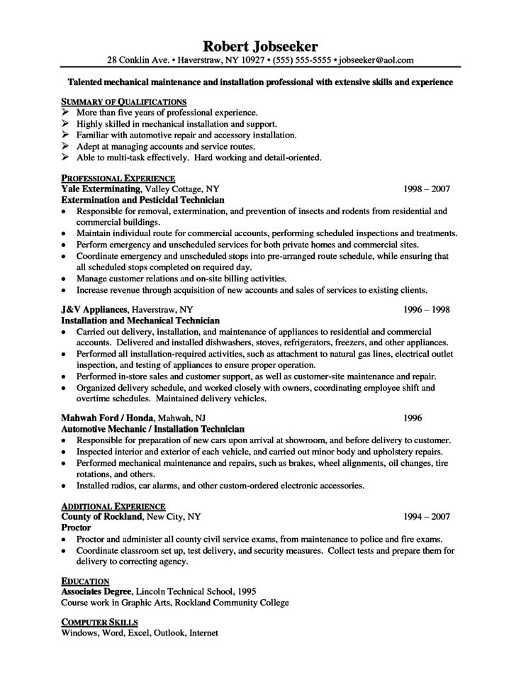 Best personal statement for resume The Need for Encryption - maintenance technician resume