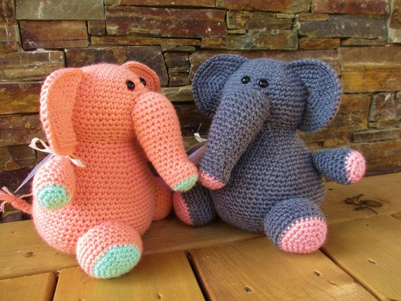 ELEPHANT crochet stuffed animal by Craftea1 on Etsy, $40.00
