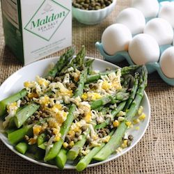"Asparagus Mimosa from ""Plenty"" – this mimosa isn't an excuse to drink champagne before noon, but it's a beautiful summer side dish!"