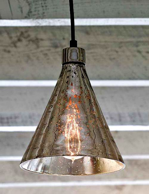 Antique Mercury Glass Beaker Pendant Light