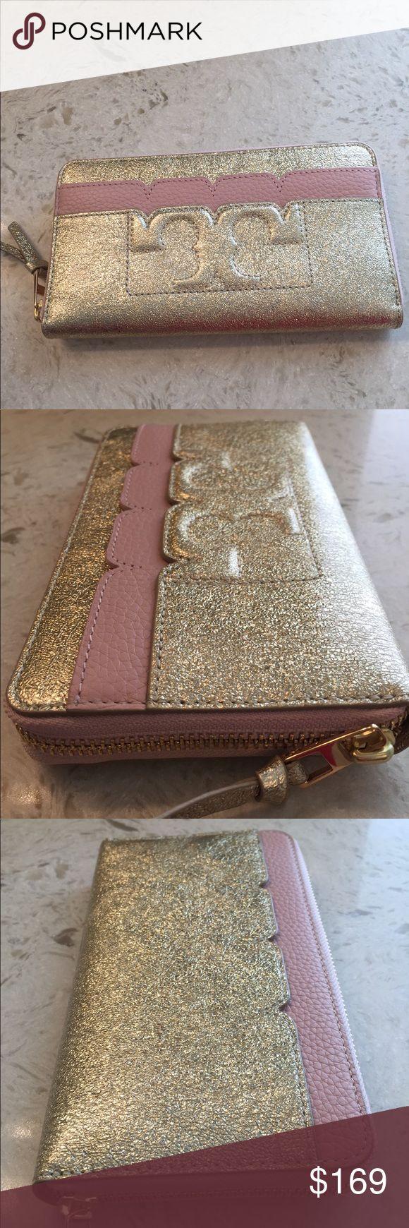 🆕Tory Burch Scallop-T Metallic Wallet Gold/Pink Beautiful Tory Burch Scallop-…