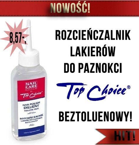 Rozcieńczalnik lakierów Top Choice pozwala przedłużyć przydatność zgęstniałych lakierów nie zmieniając ich właściwości. Bardzo prosty i skuteczny w użytkowaniu :)  Wystarcza na baaaardzo długo :)  http://ezebra.pl/product-pol-17142-TOP-CHOICE-PIELEGNACJA-I-ZDOBIENIE-PAZNOKCI-ROZCIENCZALNIK-DO-LAKIERU-BEZTOLUENOWY.html