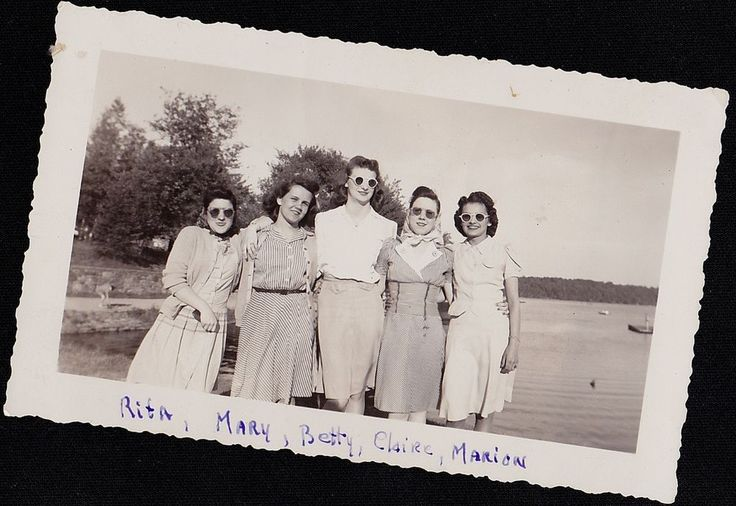 Old Vintage Antique Photograph Five Women Standing By Lake Wearing Sunglasses