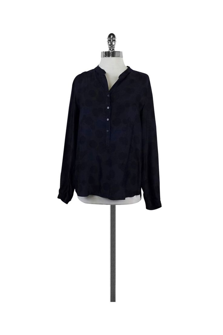 Stella McCartney- Navy & Black Polka Dot Blouse Sz 6 | Current Boutique