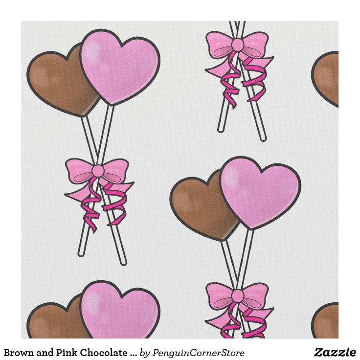 Brown and Pink Chocolate Lollipop Candy with Bow Fabric