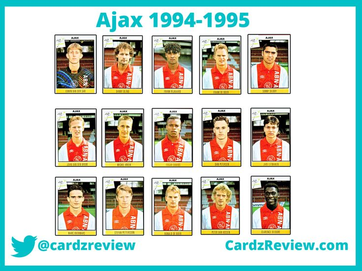 Ajax FC team 1994-95 players. Edgar Davids, Overmars, Van der Saar, Seedorf.