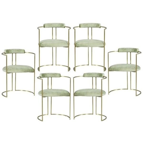 Set Of Six Carrocel Custom Brass Demilune Armchairs In Sea Foam Velvet ($9,000) ❤ liked on Polyvore featuring home, furniture, chairs, dining chairs, beige, dining room chairs, antique white chairs, ivory chair, ivory dining chairs and cream dining chairs