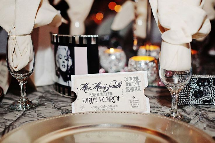 Vintage Hollywood Ticket Escort Place Cards by Diva Gone Domestic.
