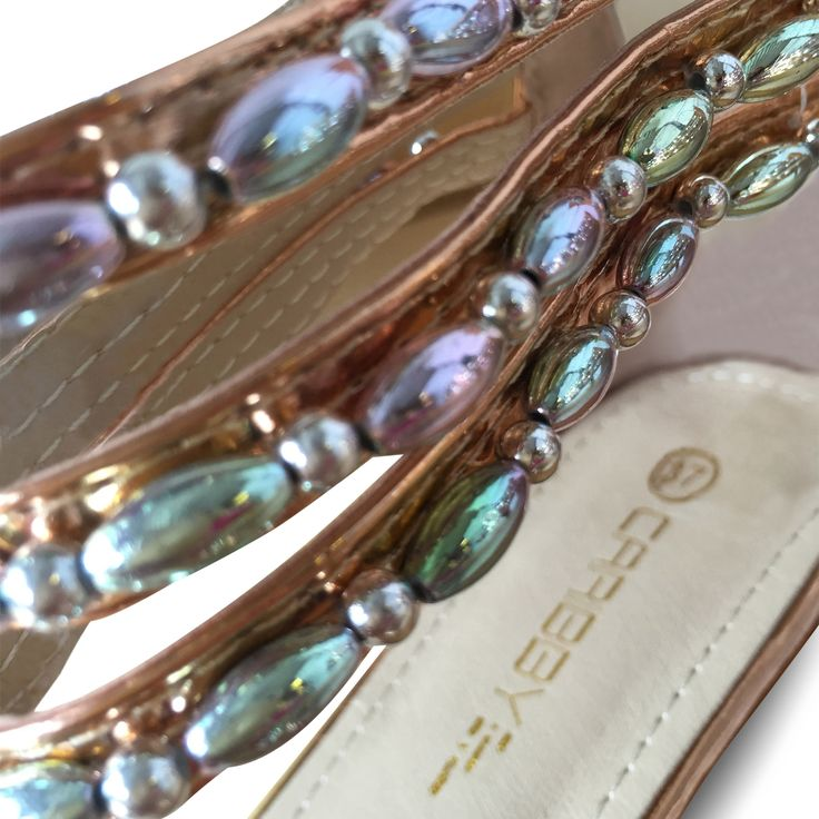 """Wonderful shimmering beads. Model """"DAY"""" in Rose Gold. www.caribbyshoes.com"""