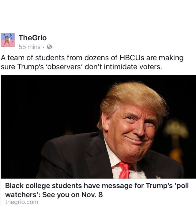 """Black students organize to counteract pressure from Trump followers who plan to work as""""poll watchers"""" on Election Day. Trump's mission is to intimidate people who are likely to vote for Hillary."""