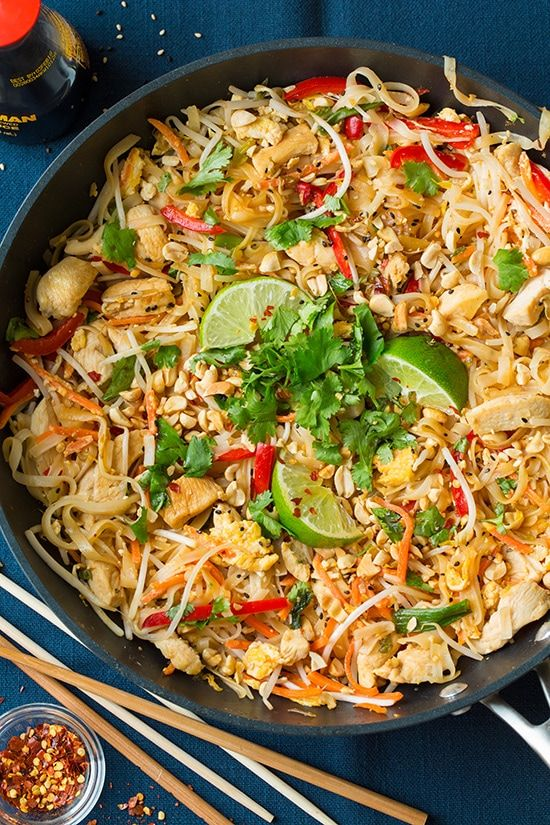 Isn't it about time we stopped relying on take out to get Chicken Pad Thai and making it at home instead? This veggie and chicken version will leave you wa