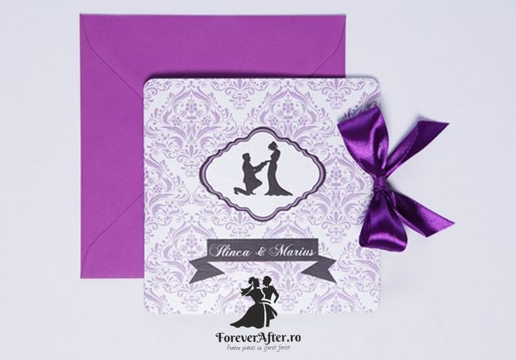Invitatie de nunta Purple Damask | Invitatii de nunta by ForeverAfter.ro