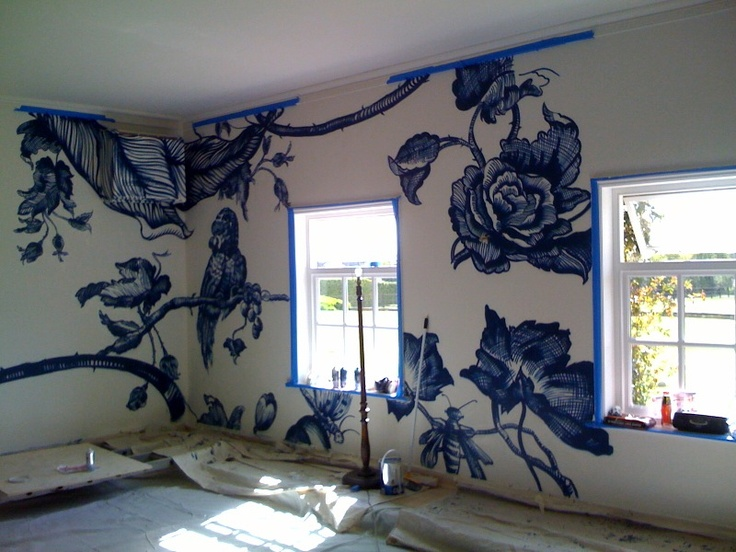 Apparently this is a ling to graffiti artists for hire blog  Home Swimming Pool Graffiti Design. I just love this idea. For any room in the house really....