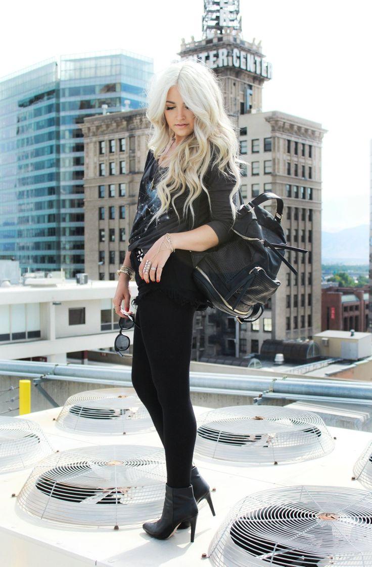 Black on Black, All Black, High Heel Boots, Booties, H&M, Backpack, Printed Top