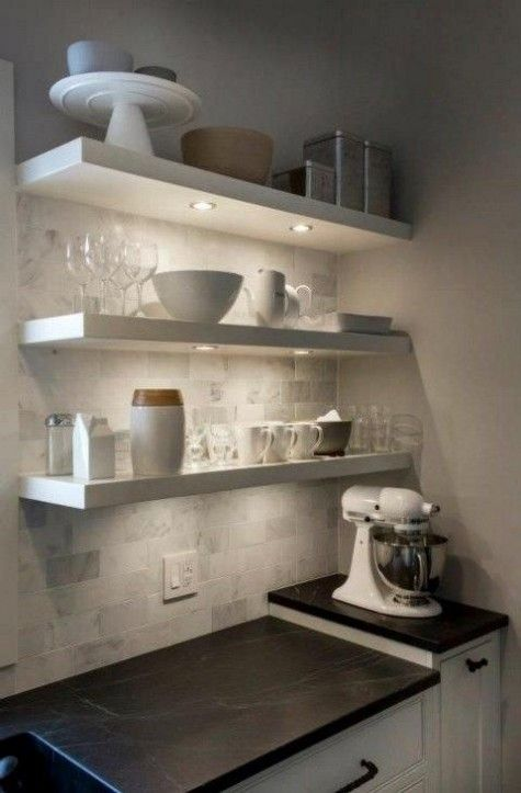 White Kitchen, Floating Shelves, Marble Subway Tile, Soapstone Counter,  under shelf lights.